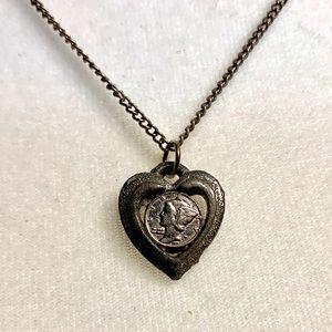 Vintage Silver Mercury Dime Pendant with Chain
